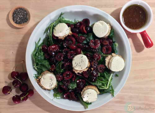 marinated cherries and goat cheese salad | breadonbutter